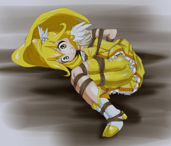 ・魔法少女、ロリ3・スパッツ、レース&フリル&リボン、フリフリ感・緊縛ー後ろ手ーハードー両足揃え緊縛ー胸縄後ろ手縛り・絞り縄